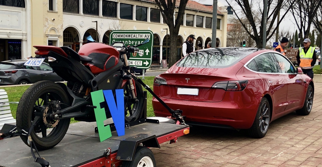 EVs can tow!  Tony's Tesla Model 3 towing an electric motorbike, proving that not only can electric vehicles tow, but electric vehicles can tow electric vehicles